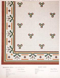 mosaic flooring Early mosaic floor tile pattern from American Encaustic tile catalog. Hex Tile, Penny Tile, Mosaic Tiles, Tiling, Subway Tile, Craftsman Bathroom, Encaustic Tile, Vintage Tile, Classic Rugs