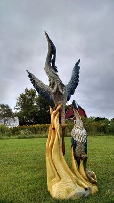 6ft double blue heron sculpted by way of chainsaw