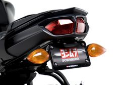 The Yoshimura Rear Fender Eliminator Kit for the 2011 - 2013 Yamaha FZ8 feature a laser cut stainless bracket that tucks discreetly under the tail section of the motorcycle
