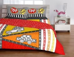 KIDS-I LOVE MY PLANET BLACK & RED DOUBLE BEDSHEET - KD-03