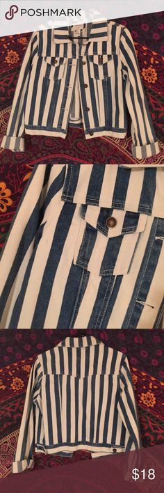 Striped denim jacket Blue and white striped jacket. NEVER worn before. Perfect condition. Thick denim material Jackets & Coats Jean Jackets