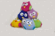 Little crochet owl Diy Crochet Toys, Crochet Owls, Crochet Animals, Owl Crochet Pattern Free, Crochet Patterns, Owl Home Decor, Owl Embroidery, Owl Keychain, Owl Kids
