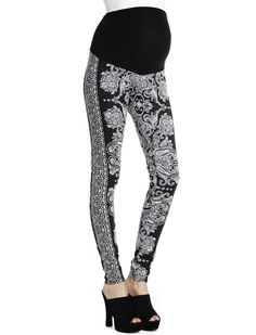 Paisley print   secret fit belly jacquard skinny leg maternity leggings by Jessica Simpson available at Destination Maternity