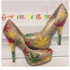 Mary Jane Rasta heels by Glitter Me Badd