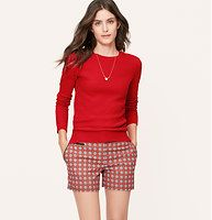 Stitchy Sweater - Irresistibly stitchy, we love the touchably soft appeal of this cashmere-kissed style. Crew neck. Long sleeves. Ribbed neckline, cuffs and hem.