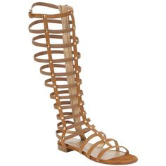 Stuart Weitzman Camel Suede Studded Tall Zip Gladiator Sandals... ($379) ❤ liked on Polyvore featuring shoes, sandals, camel, gladiator sandals, studded gladiator sandals, small heel sandals, low heel sandals and open toe gladiator sandals