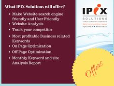 IPIX Solutions one of the leading SEO Agency in India offers you all required services related to your Digital Marketing plan.  #seo #ipixsolutions #seoagency #india