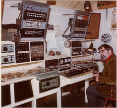 Tristrams Cary's hand-built electronic music studio, Fressingfield late 60's.