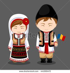 Moldovans in national dress with a flag. A man and a woman in traditional costume. Travel to Moldavia. Welcome to Moldova. Felt Dolls, Paper Dolls, Romania People, Travel To Ukraine, Costumes Around The World, Travel Party, Travel Drawing, Thinking Day, Moldova