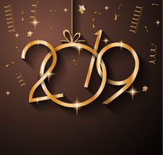 golden 3d new year 2019 background image