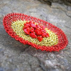 Crocheted wire brooch