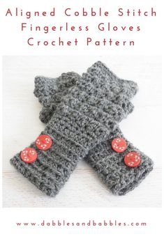 Aligned Cobble Stitch Fingerless Gloves Crochet Pattern - Dabbles & Babbles - Mama In A Stitch Crochet For Beginners, Crochet For Kids, Free Crochet, Crochet Hats, Irish Crochet, Crochet Edgings, Crochet Stitch, Beginner Crochet, Unique Crochet
