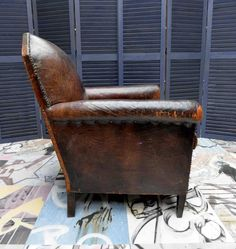 Century French Leather Lounge Club Chair with Mirror Shaped Back 2 Leather Chaise Lounge Chair, Leather Club Chairs, Leather Lounge, Small Accent Chairs, Accent Chairs For Living Room, Vintage Chairs, Vintage Furniture, Restoration Hardware Dining Chairs, Polywood Adirondack Chairs