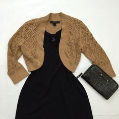 """EXPRESS Gold Shimmer Shrug Carmel, gold shimmer crocheted shrug from Express. Size small: approx. 14.5"""" wide flat across, 14"""" long, and 16"""" sleeve. Machine wash. 83% Pima cotton, 12% polyester, 5% metallic. Excellent used condition. Express Sweaters Shrugs & Ponchos"""