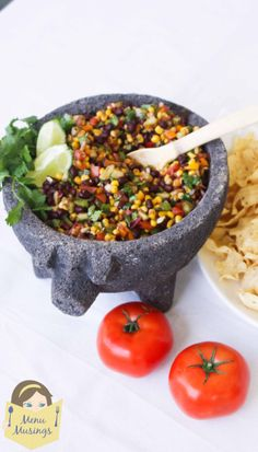 Black Bean and Corn Salsa - one of my favorite (and HEALTHY) munchies.  Great as a dipper as well as a side item for your Mexican entrees.  Step-by-step photos.  <3