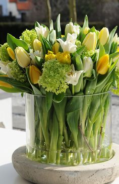 50 Best Ideas Tulips In Vase - Tulpen Pretty Flowers, Fresh Flowers, Spring Flowers, Spring Bouquet, Tulip Bouquet, Simple Flowers, Yellow Flowers, Yellow Vase, Tulips Flowers
