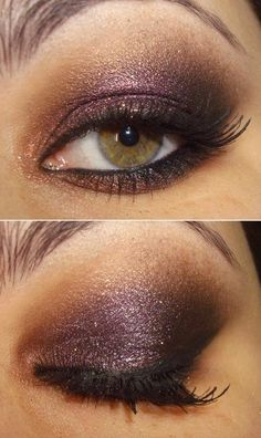 Brown and purple glitter shimmer eye makeup