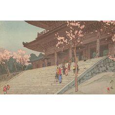 [フリー絵画素材] 吉田博 - 桜八題 桜門 (1935) ID:201403102100