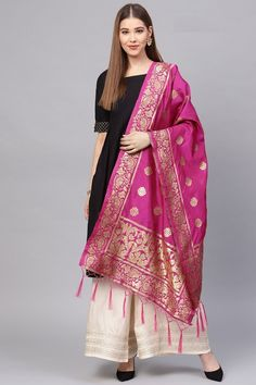 Product Features: Color: Rani Pink Fabric: Banarasi Art Silk Dupatta Length: Meters Dupatta Width: 24 Inches Type of Work: Zari Work Product Weight: Kg Disclaimer: Color and Texture may have slight variation due to photography Silk Anarkali Suits, Silk Dupatta, Lehenga Choli, Saree, Red Silk, Pink Silk, Pink Fashion, Trendy Fashion, Pink Fabric