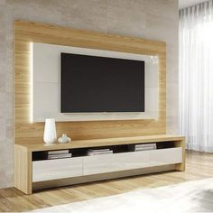 2 Piece Modern Theater Center: Floating Wall Mounted TV Panel and Free Standing TV Stand for Living Room and Bedroom use. Upon Assembly, Measures: in. Recommended for a TV Sc Tv Unit Decor, Tv Wall Decor, Tv Cabinet Design, Tv Wall Design, Tv Stand And Panel, Tv Panel, Floating Tv Stand, Floating Wall, Floating Tv Unit