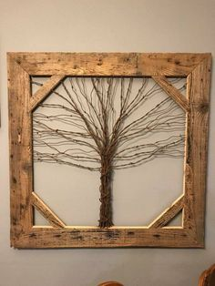 Crafted Barb Wire Tree in Barn Wood Frame. Can make to order in any size you want. Crafted Barb Wire Tree in Barn Wood Frame. Can make to order in any size you want. Copper wire tree with Black Birds. Barn Wood Decor, Barn Wood Crafts, Old Barn Wood, Wood Wood, Painted Wood, Diy Wood, Barn Board Projects, Old Wood Projects, Art Projects