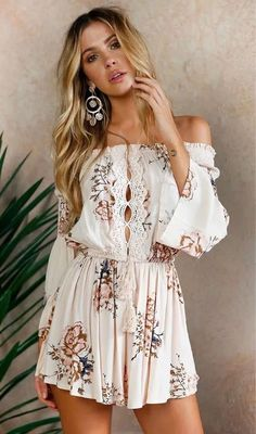 Boho Front Tie Waist Off Shoulder Floral Romper Dress lover this off the shoulder romper playsuits jumpers, elastic band, flexible fitted and boho waist ties off the shoulder floral dress bohemian long sleeve off the shoulder mini dress summer outfits Baby Girl Dresses, Cute Dresses, Casual Dresses, Summer Dresses, Floral Dresses, Sparkly Dresses, Fall Dresses, Cheap Dresses, Elegant Dresses