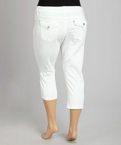 7f6cd48b51627 1826 Jeans White Flap-Pocket Twill Capri Pants - Plus. Curvy OutfitsPlus  Size OutfitsCurvy Women ...