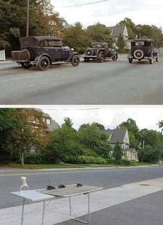 It's not photoshop, nor a picture of the past, simply just perspective.