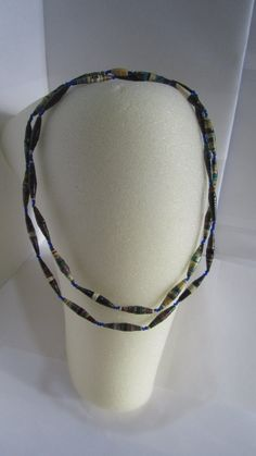 Long Dark Multicolored Upcycled Magazine Paper Bead Necklace - Recycled, The Nyaka AIDS Orphans Project, African, Uganda $20.00