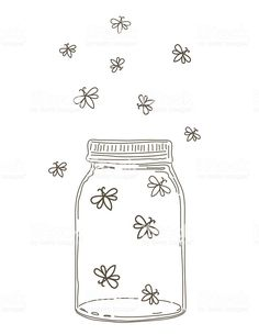 Summer Hand Drawn Mason Jars With Fireflies royalty-free summer hand drawn mason. - Chalk Art İdeas in 2019 Bullet Journal Notebook, Bullet Journal Ideas Pages, Bullet Journal Inspiration, Pencil Art Drawings, Doodle Drawings, Kunstjournal Inspiration, Cute Easy Drawings, Minimalist Drawing, Chalk Art