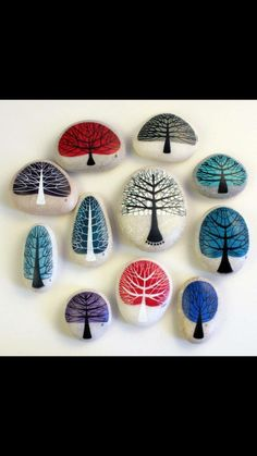 Ideas for cool trees to paint on rocks.