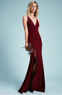 Main Image - Dress the Population Iris Slit Crepe Gown
