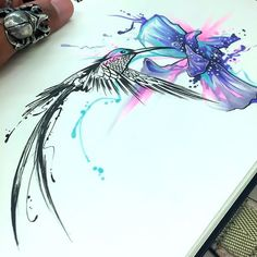 Inspiring black hummingbird and amazing watercolor purple flower.