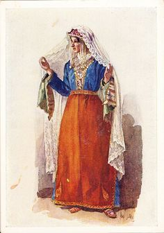 Postcard – Max Tilke – People of the Caucasus Series, 27 - Armenians, A Woman from Alexandropol (now Gumri) Armenia Folk Costume, Costumes, Armenian People, Armenian Culture, David Smith, Nureyev, Country Dresses, Festival Dress, Amazons
