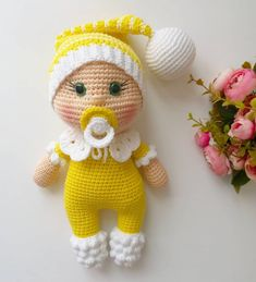 In this article I will share the amigurumi doll pacifier doll free crochet pattern. You can find everything you want about Amigurumi. Octopus Crochet Pattern, Crochet Dolls Free Patterns, Amigurumi Patterns, Baby Patterns, Doll Patterns, Crochet Bear, Baby Blanket Crochet, Crochet Toys, Free Crochet