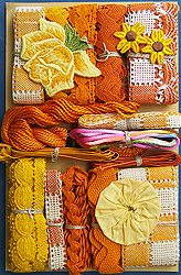 Crazy Quilt Embellishment Assortment - Orange & Yellow