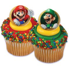 Mario Bros. Rings Includes: (12) themed assorted plastic rings, our choice please. Wash before use. Does not include cupcake. Weight (lbs) 0.08 Length (inches) 1.75 Width (inches) 1.75 Height(inches)