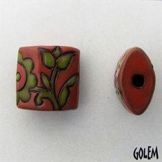 Old lace Green Salsa on terracotta - Golem Studio handmade ceramic bead