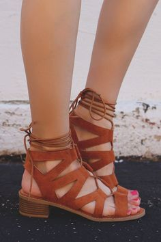 Whiskey Cut Out Lace Up Heeled Sandals April-09 – UOIOnline.com: Women's Clothing Boutique #promheelswedges