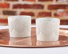 Tough meets sweet in the best possible way with Kate Aspen's Concrete Lace Votive Holder! A lace design adorns the outside of the genuine cement votive holder t Nautical Wedding Favors, Candle Wedding Favors, Candle Favors, Unique Wedding Favors, Personalized Wedding, Wedding Ideas, Wedding Table, Wedding Decorations, Wedding Reception
