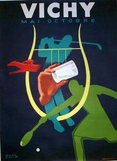Vichy  Item #: TRV-1493  Category: Travel  Artist: Paul Colin  Circa: 1948  Origin: France  Dim: 45 x 61 1/4 in.