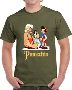 Pinocchio And Gepeto With Cat And Fish.h T Shirt