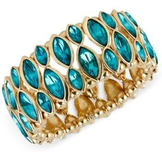 Haskell Bracelet, Antique Gold-Tone Teal Bead Stretch Bracelet ($35) ❤ liked on Polyvore featuring jewelry, bracelets, accessories, schmuck, beaded bangles, beaded stretch bracelet, teal bangle, antique gold jewellery and haskell jewelry