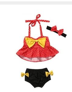 """MINNIE MOUSE SWIMSUIT PRICE $9.99 OPTIONS: 12M, 2T, 3T, 4T To purchase: comment """"sold"""", size & email"""