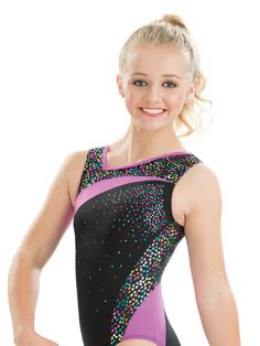 Colorful girl's asymmetrical gymnastics leotard in black nylon/spandex and cadence poly/spandex print with foil features a flattering gypsy nylon/spandex wrap around style line and sparkling silver ho