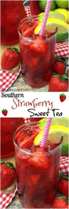 Southern Strawberry Sweet Iced Tea Divas Can Cook - Fresh Strawberries And Southern Sweet Tea Comes Together To Make One Refreshing Pure And Delicious Strawberry Sweet Iced Tea No Simple Syrup Needed Watch Me Make This Southern Strawber Fruit Drinks, Smoothie Drinks, Non Alcoholic Drinks, Party Drinks, Cocktail Drinks, Fun Fruit, Tea Drinks, Cold Drinks, Tea Party