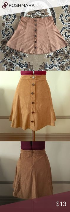 JOLT Faux suede skater skit Faux suede skater skirt with front mock button up placket and lining on the inside. Worn once! In great condition! Jolt Skirts Circle & Skater