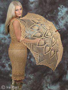 Handmade Crochet Adult Beige Lace Wedding Parasol