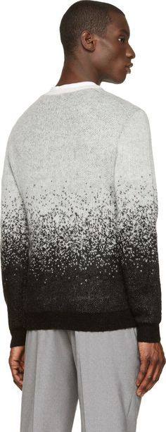 Neil Barrett Black & Grey Mohair Degraded Sweater