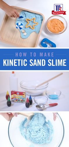 DIY Scented Kinetic Sand Slime A new take on slime: Kinetic Sand Slime is a fun and textured summer craft that's perfect for kids. Choose your favorite color and scent combo. Craft Activities For Kids, Toddler Activities, Projects For Kids, Diy For Kids, Craft Ideas, Summer Activities, Cute Crafts, Crafts To Do, Crafts For Kids